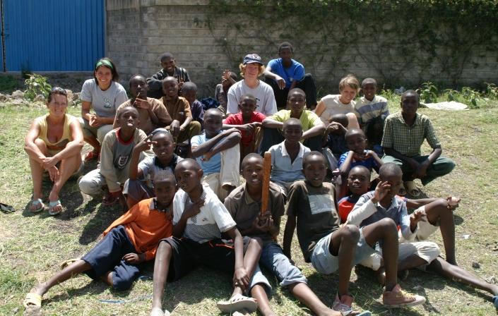 A bunch of us, volunteers, with the kids at an orphanage in Nairobi
