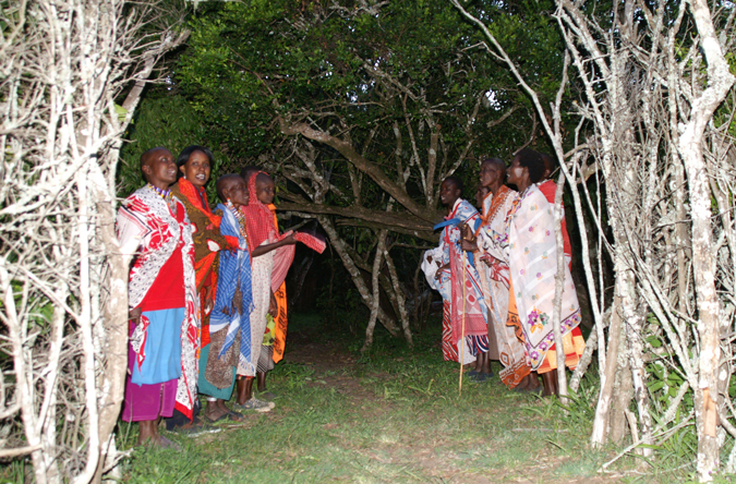 Samburu women greeting us with a song at the gate