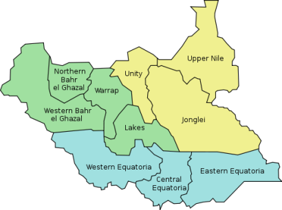 South Sudan states map